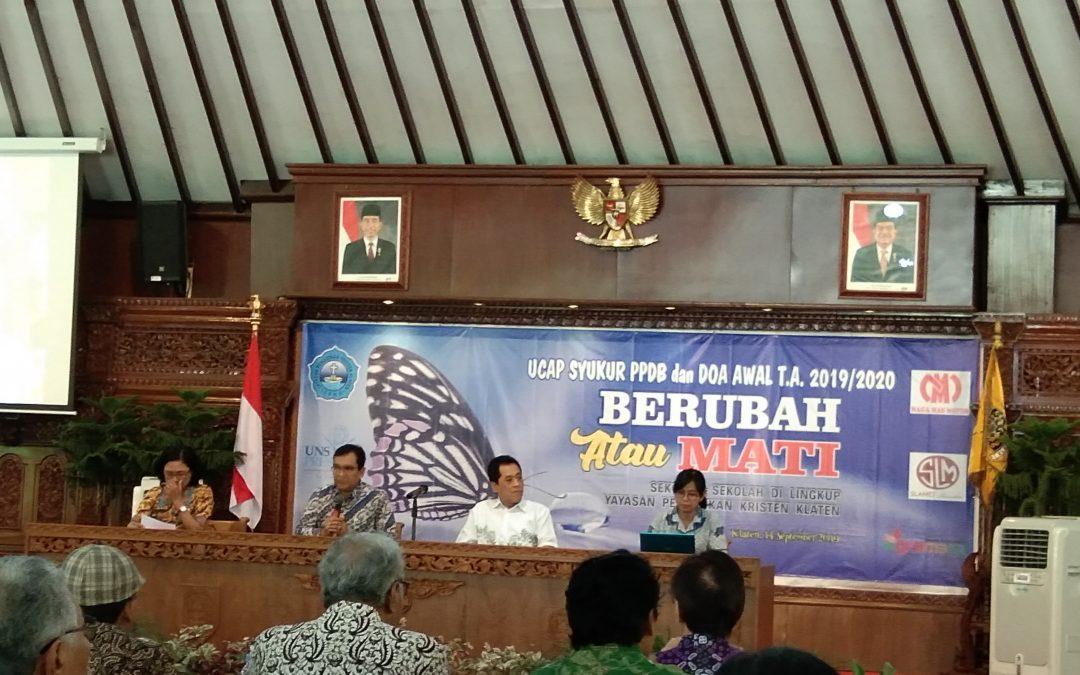 Doa Syukur PPDB dan Doa Awal Tahun 2019/2020 Segenap Keluarga Besar Yayasan Pendidikan Kristen Klaten